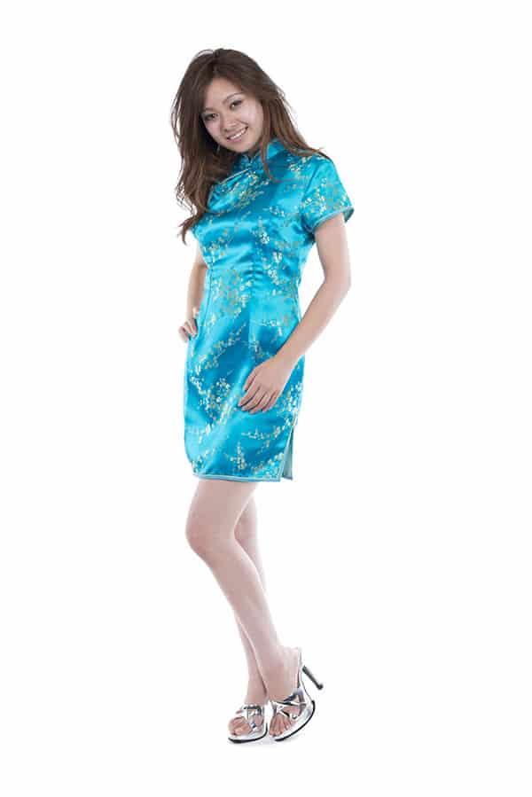 チャイナドレス ブルー