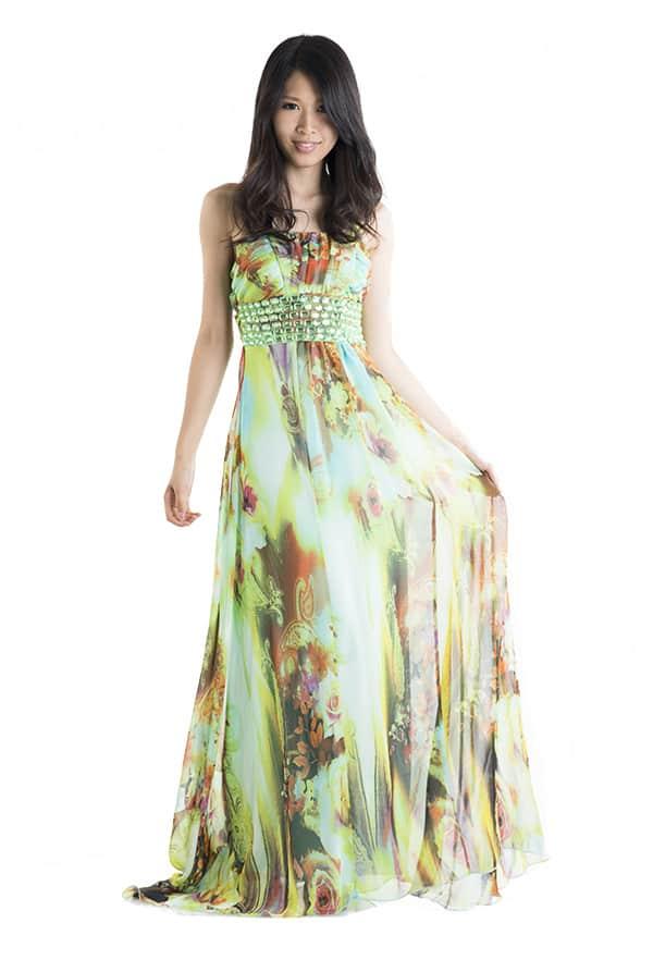 ロングドレス グリーン2